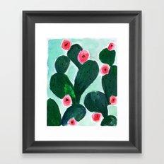 Cactus Bloom Mint Framed Art Print