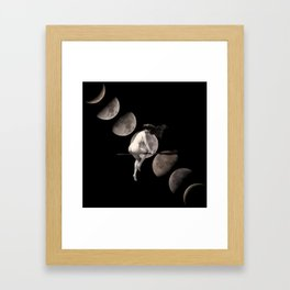 Moon Phases with Vintage Witch Framed Art Print