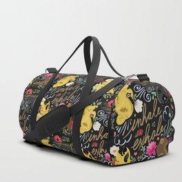 Inhale Exhale Pug Yoga Duffle Bag