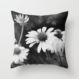 Black and White Daisies  Throw Pillow
