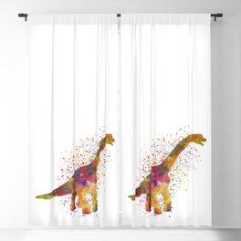 Brachiosaurus dinosaur in watercolor Blackout Curtain