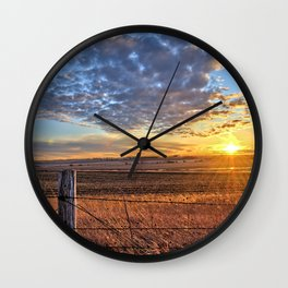 Sunset Fenceline 2 Wall Clock