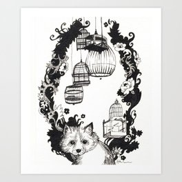Fox and Birdcages  Art Print
