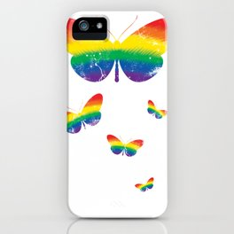 Colorful Rainbow Flag Cute Butterfly iPhone Case