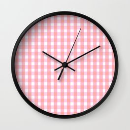 Pink Gingham Wall Clock