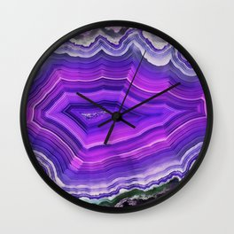 Violet and pink agate Wall Clock