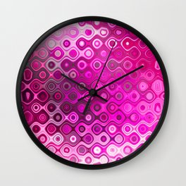 Wobbly Dots in shocking pink Wall Clock