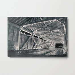 Covered Bridge Interior Lights - Black and White Metal Print