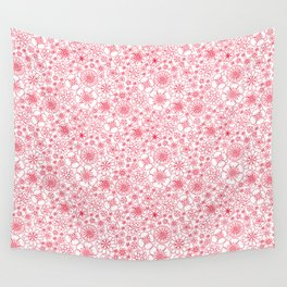 Wild Flowers - floral pattern red Wall Tapestry