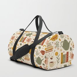 Flowery Books and Tea Duffle Bag