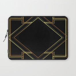 art deco gatsby black and gold lines geometric pattern Laptop Sleeve