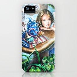 Alice and blue caterpillar iPhone Case
