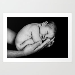 Baby Cradled in Dad's Hands - Bic Ballpoint Pen Art Print
