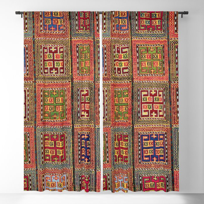 Azeri Verneh  Antique Karabagh Caucasian Rug Print Blackout Curtain