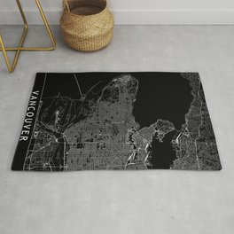 Vancouver Black Map Rug