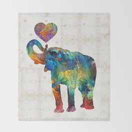 Colorful Elephant Art - Elovephant - By Sharon Cummings Throw Blanket