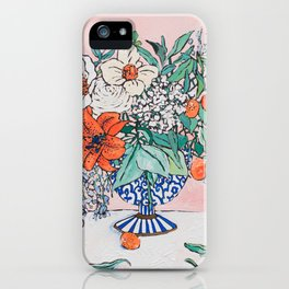 California Summer Bouquet - Oranges and Lily Blossoms in Blue and White Urn iPhone Case