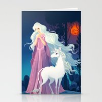 the last unicorn Stationery Cards featuring The Last Unicorn by Tami Wicinas