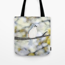 tufted titmouse - bokeh Tote Bag