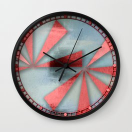 Red Triangles on Blue Grey Backdrop Wall Clock