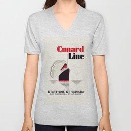 Cunard Line art deco style Unisex V-Neck