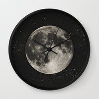 type Wall Clocks featuring The Moon  [Sans Type] by Heather Landis