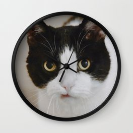Cat Portrait with Texture Wall Clock