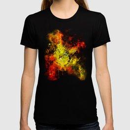 evil cat splatter watercolor T-shirt