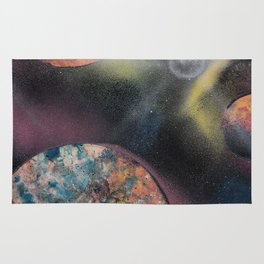 Pink and Orange Planets in Spacescape - Spray Paint Art Rug