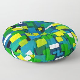 """Original Abstract Acrylic Painting by  """"City Lights"""" Colorful Geometric Square Pattern Gre Floor Pillow"""