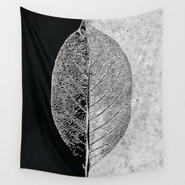 Natural Outlines - Leaf Black & Concrete #768 Wall Tapestry