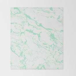 Trendy modern pastel mint green white marble pattern by Girly Trend Throw Blanket