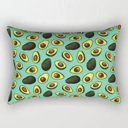 Dancing Millennial Avocados on Aqua, Ditsy print Rectangular Pillow