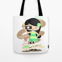 photographer Tote Bags featuring Photographer by Inkley