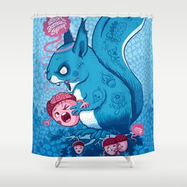 Zombie Squirrel Shower Curtain
