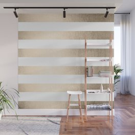 Simply Stripes in White Gold Sands Wall Mural