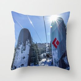 Tips Up // Skilift Riding Blue Mountain and Sky Crisp Snowy Day Throw Pillow