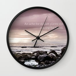 Fernweh - beach photo, seascape ocean photography, inspirational quote, travel landscape typography Wall Clock