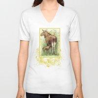 elk V-neck T-shirts featuring Elk by Natalie Berman