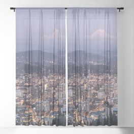 Portland Evening Urban Cityscape With Mt Hood Sheer Curtain