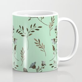 Mint Green and Bluebells and Bluebirds Floral Pattern Flowers in Blue and Bark Brown Coffee Mug