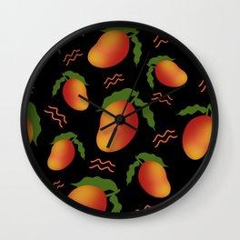 Tropical exotic sweet ripe summer mango fruits modern artistic black pattern design. Wall Clock