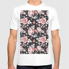 Vintage Pink Rose Flowers MEDIUM White Mens Fitted Tee