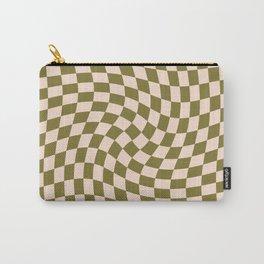 Check VI - Green Twist — Checkerboard Print Carry-All Pouch