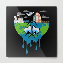Climate Change Planet Future Earth CO2 Gift Idea Metal Print