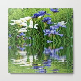 BLUE & WHITE IRIS WATER REFLECTION ART Metal Print