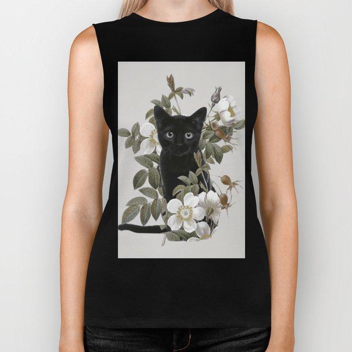 Cat With Flowers Biker Tank