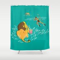 predator Shower Curtains featuring Popcorn Predator by Rapirap