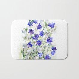 Bluebells watercolor flowers, aquarelle bellflowers Bath Mat