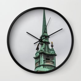 Steeple of All Hallows by the Tower Anglican Church near Tower of London England Wall Clock